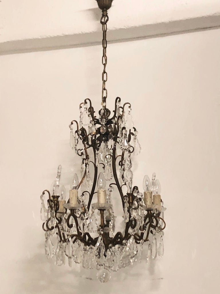 Late 20th Century Stunning Pair of French Bronze and Crystal Chandeliers For Sale