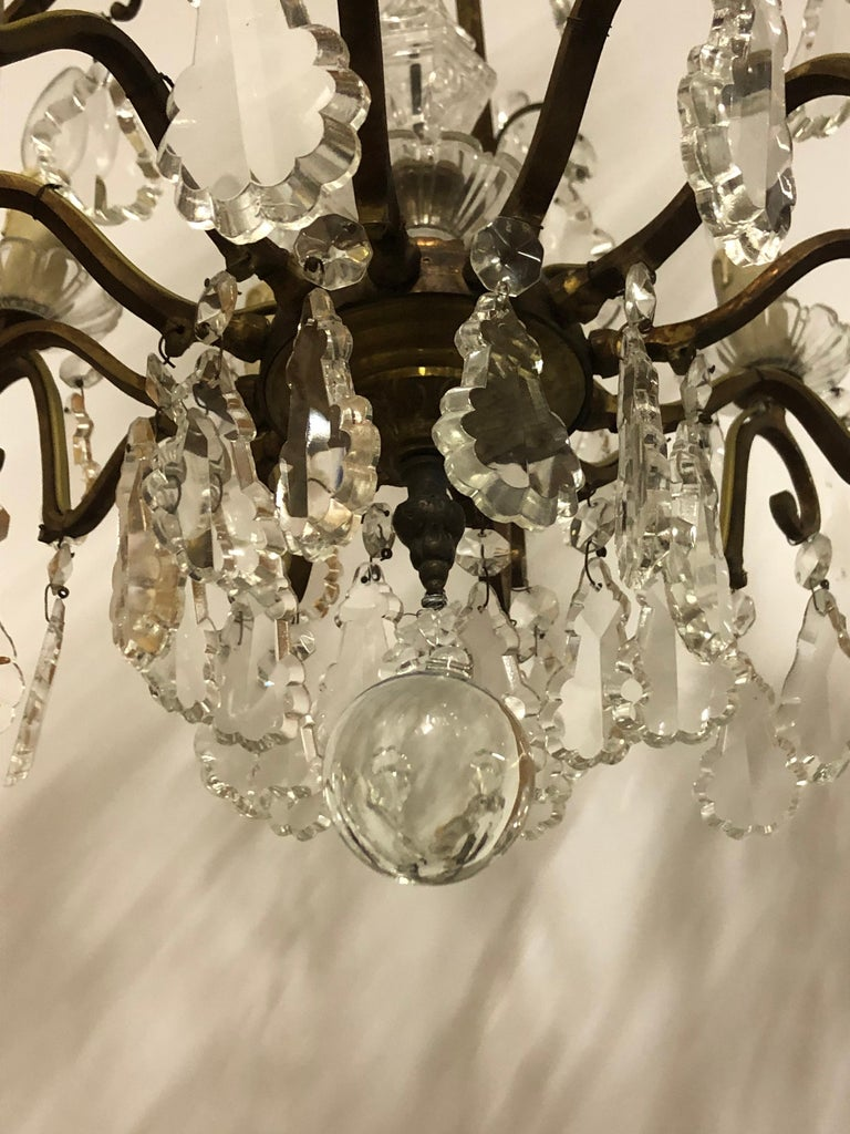 Stunning Pair of French Bronze and Crystal Chandeliers For Sale 1
