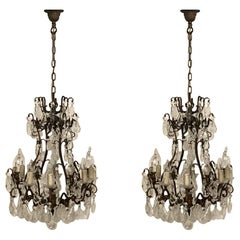 Stunning Pair of French Bronze and Crystal Chandeliers