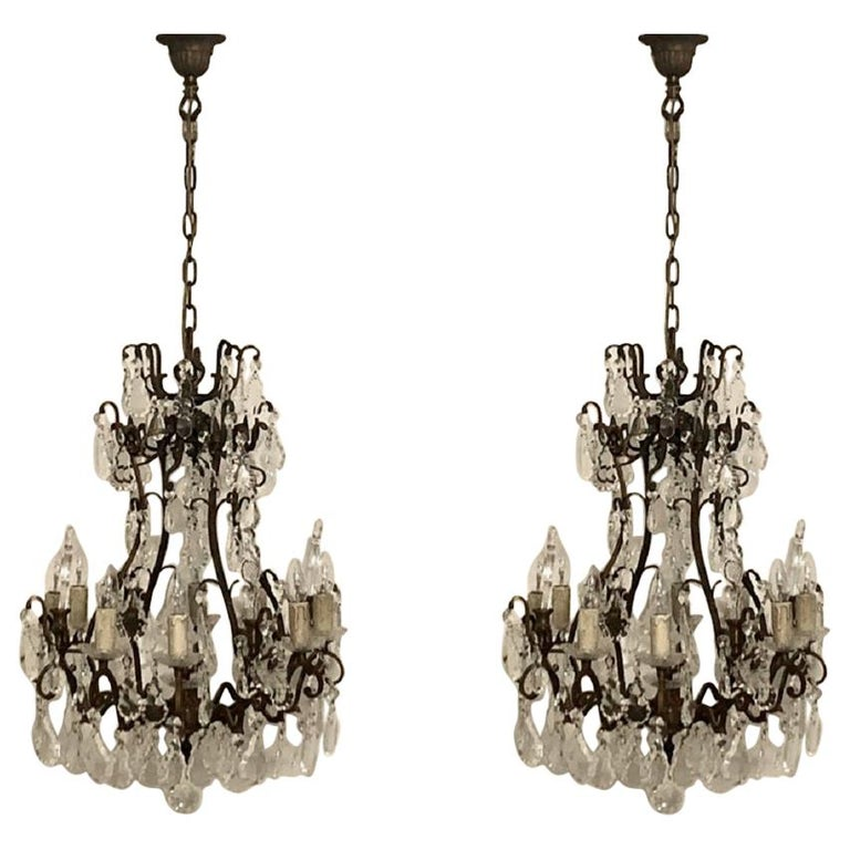 Stunning Pair of French Bronze and Crystal Chandeliers For Sale