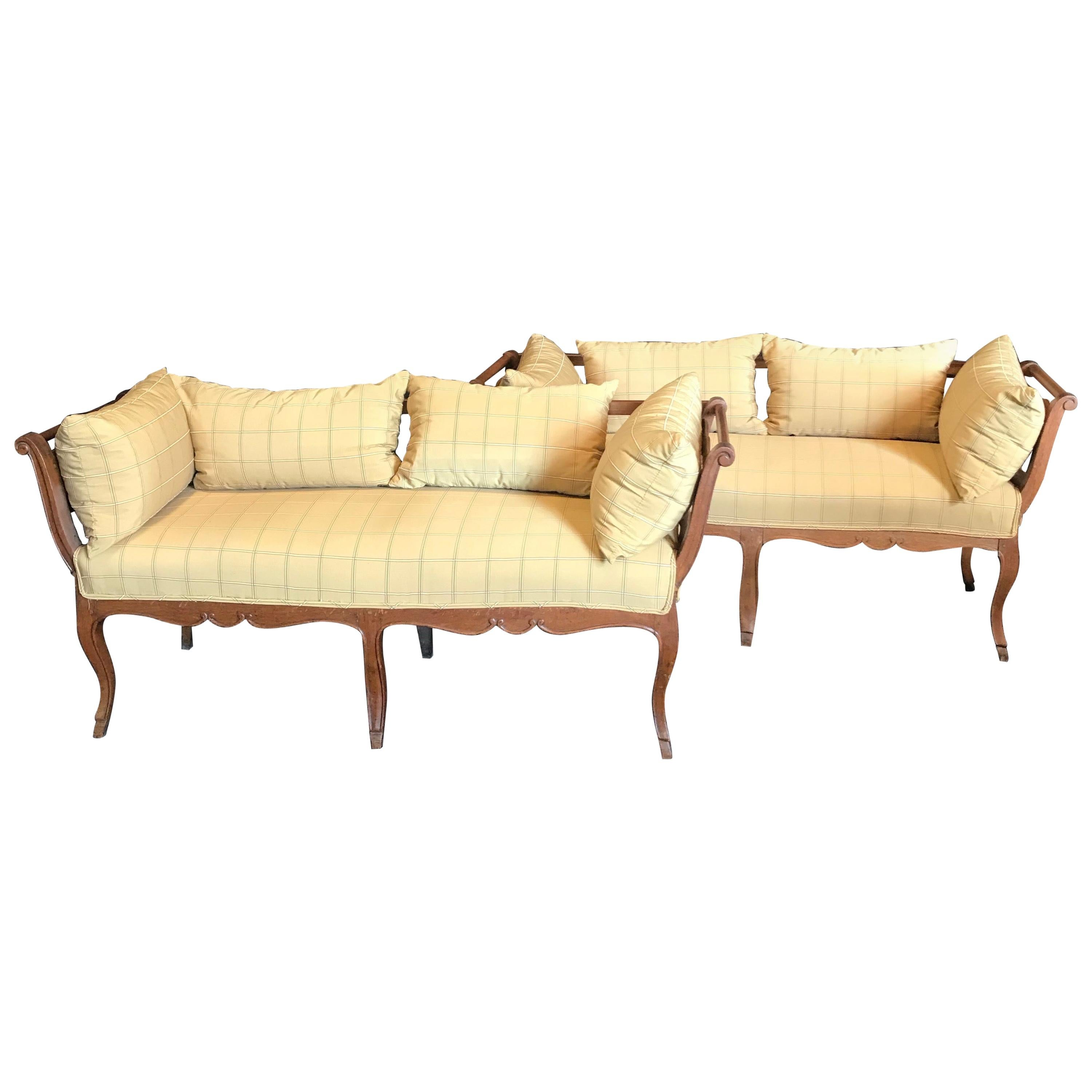 Stunning Pair of French Country 19th Century Louis XV Settees Loveseats