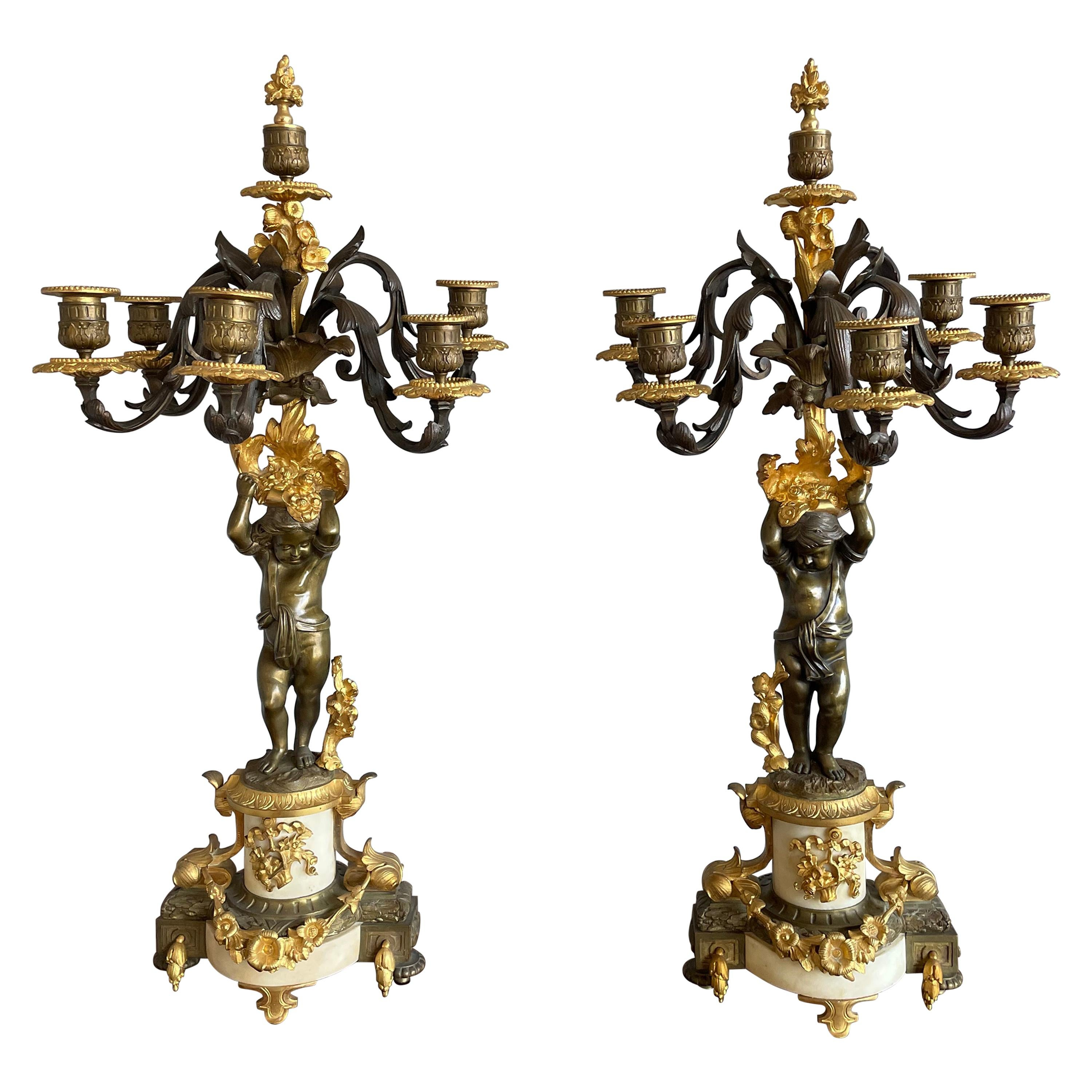 Stunning Pair of French Louis XVI Style Gilt Bronze & Marble Candle Candelabras