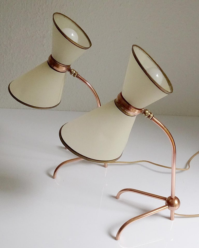 Stunning Pair of French Midcentury Copper Table Lamps,  Stilnovo Style Lights For Sale 6