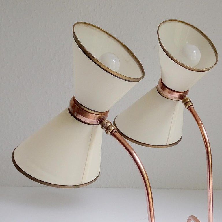 Stunning Pair of French Midcentury Copper Table Lamps,  Stilnovo Style Lights For Sale 7