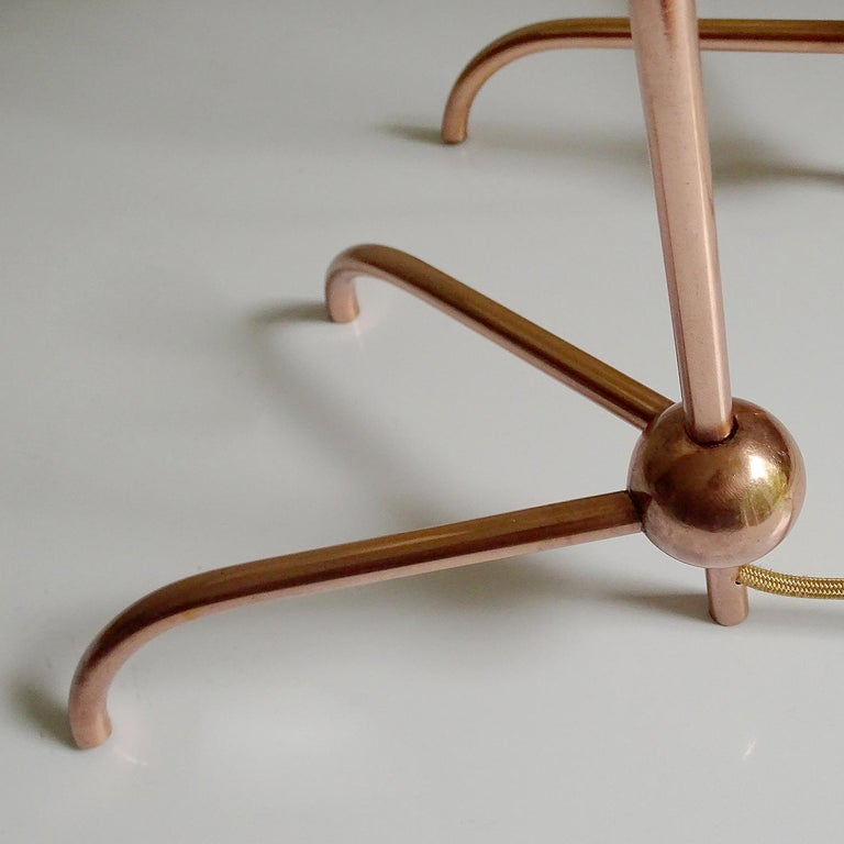 Stunning Pair of French Midcentury Copper Table Lamps,  Stilnovo Style Lights For Sale 9