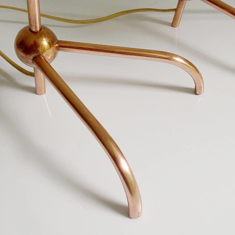 Stunning Pair of French Midcentury Copper Table Lamps,  Stilnovo Style Lights For Sale 10