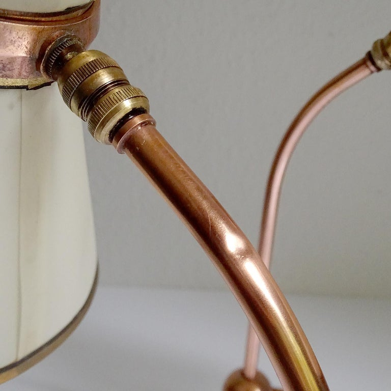 Stunning Pair of French Midcentury Copper Table Lamps,  Stilnovo Style Lights For Sale 15