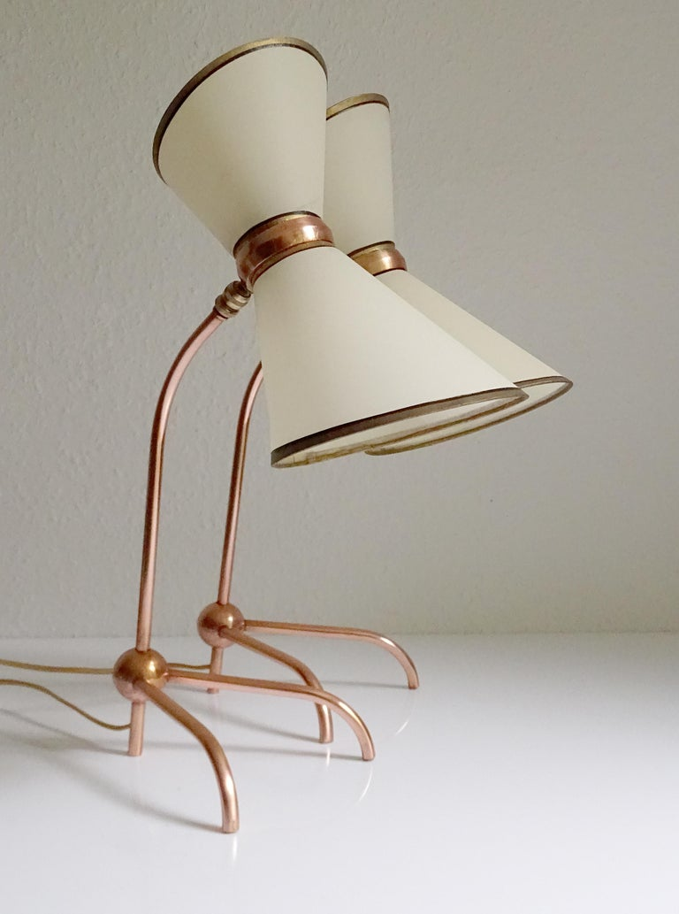 Mid-Century Modern Stunning Pair of French Midcentury Copper Table Lamps,  Stilnovo Style Lights For Sale
