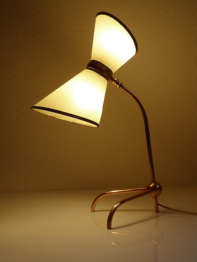 Stunning Pair of French Midcentury Copper Table Lamps,  Stilnovo Style Lights In Good Condition For Sale In Bremen, DE
