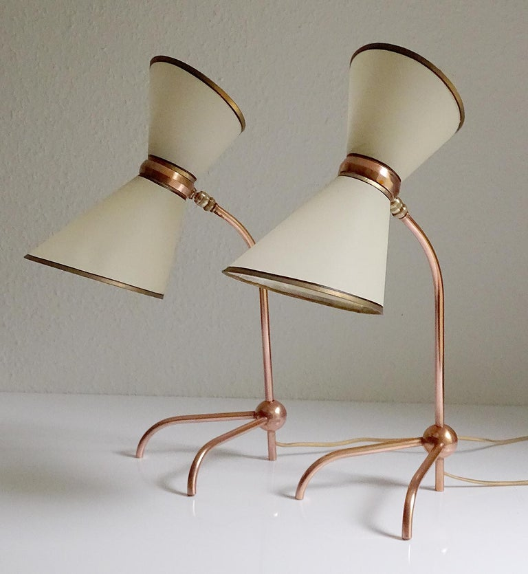 Mid-20th Century Stunning Pair of French Midcentury Copper Table Lamps,  Stilnovo Style Lights For Sale