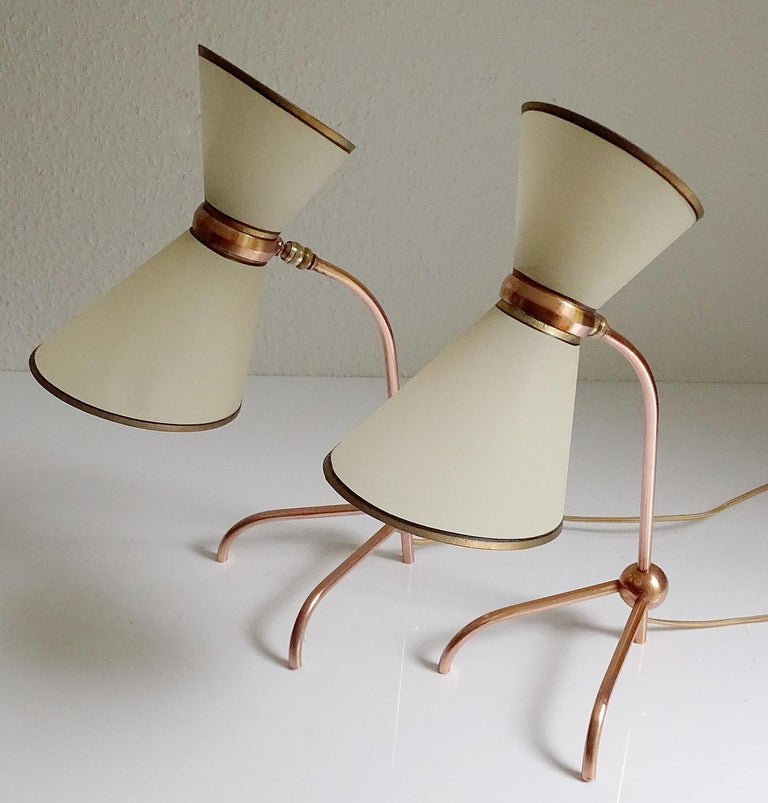 Stunning Pair of French Midcentury Copper Table Lamps,  Stilnovo Style Lights For Sale 1