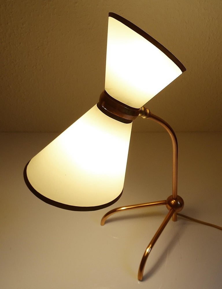 Stunning Pair of French Midcentury Copper Table Lamps,  Stilnovo Style Lights For Sale 2