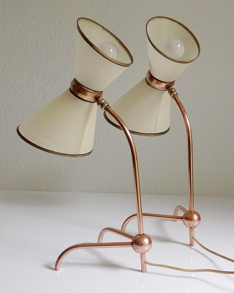 Stunning Pair of French Midcentury Copper Table Lamps,  Stilnovo Style Lights For Sale 3