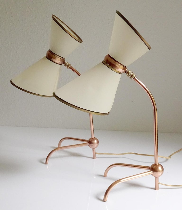 Stunning Pair of French Midcentury Copper Table Lamps,  Stilnovo Style Lights For Sale 4