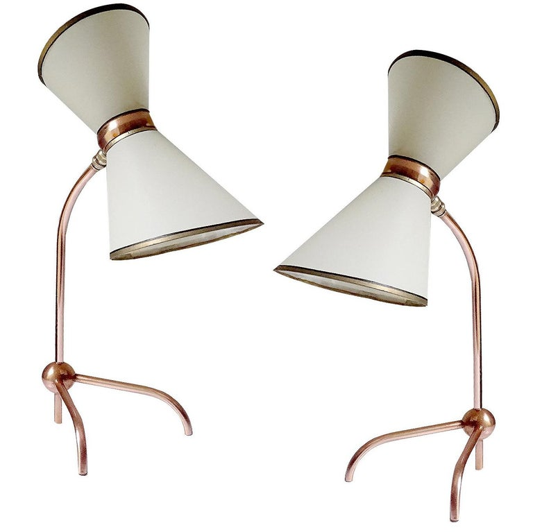 Stunning Pair Of French Midcentury Copper Table Lamps Stilnovo Style Lights For