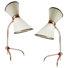 Stunning Pair of French Midcentury Diabolo Design Table Lamps, Stilnovo Style
