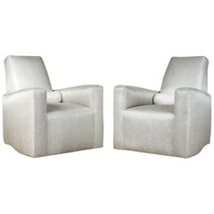 Stunning Pair of Geoffrey Bradfield Custom Club Chairs in a Woven Silver Fabric