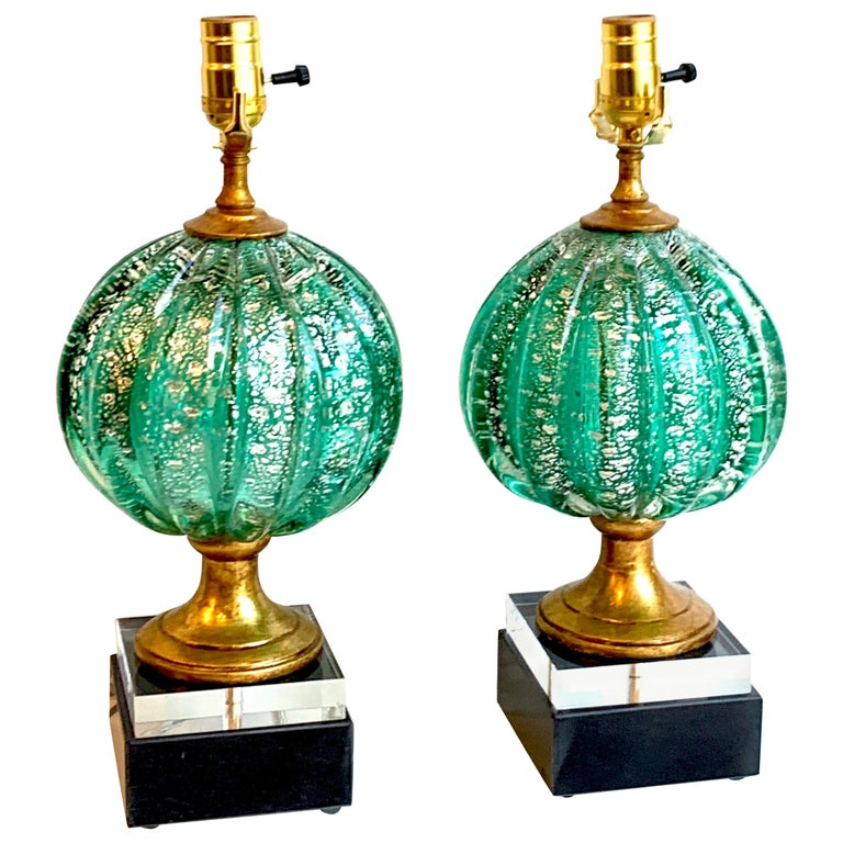Stunning Pair of Green and Silver Infused Murano Glass Orb Lamps For Sale