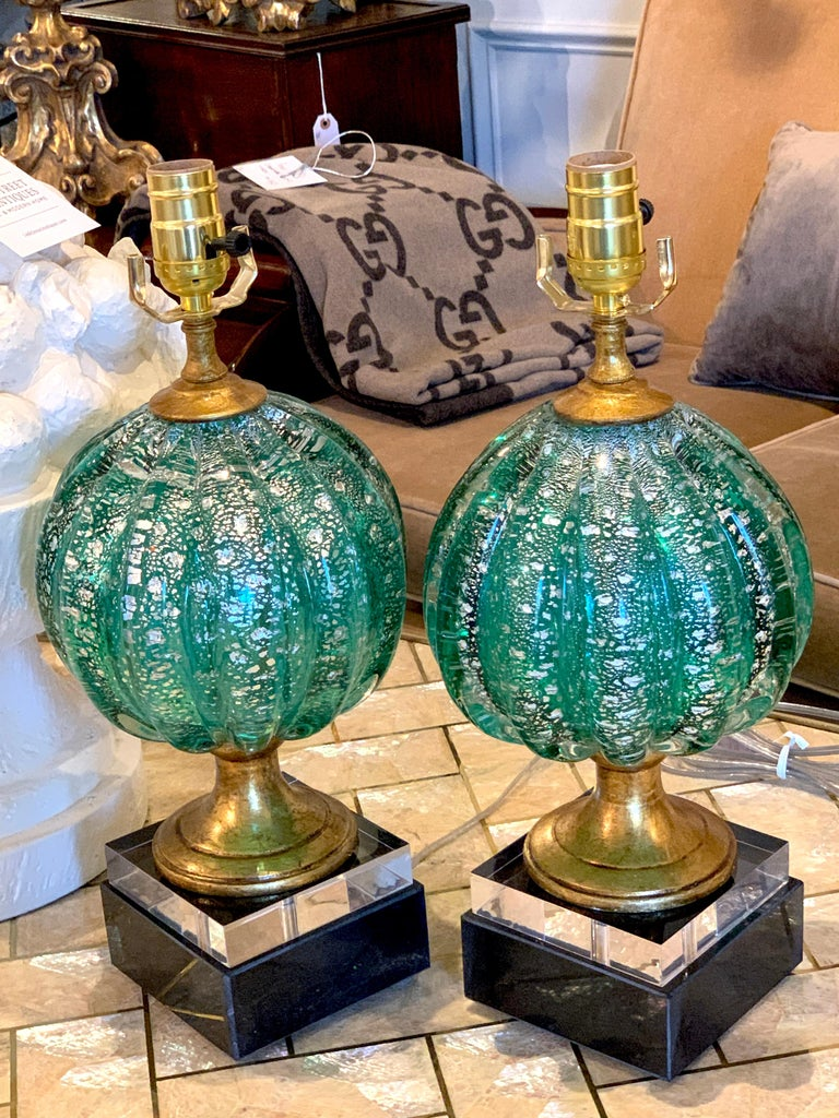 Mid-Century Modern Stunning Pair of Green and Silver Infused Murano Glass Orb Lamps For Sale
