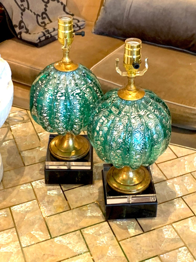 Italian Stunning Pair of Green and Silver Infused Murano Glass Orb Lamps For Sale