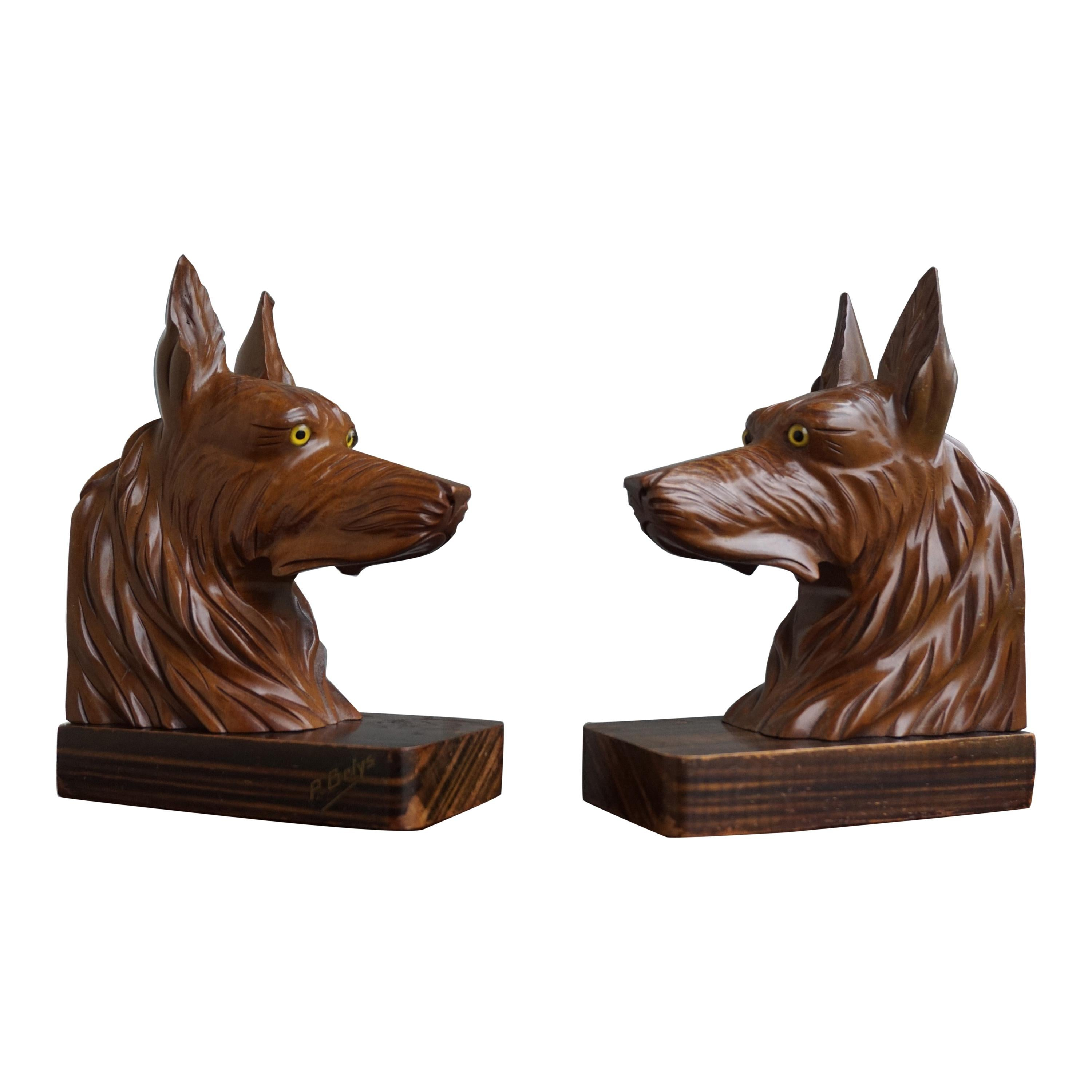 Stunning Pair of Hand Carved French Sheepdog Sculptures or Cherrywood Bookends