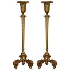 Stunning Pair of Hand Carved Giltwood Floor Standing Uplighter Lamps Lovely Look