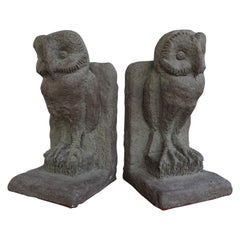 Stunning Pair of Hand Sculpted Midcentury Era Barn Owl Bookends Sculptures