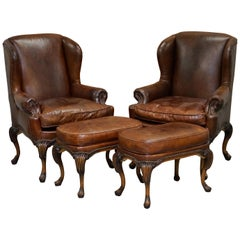 Stunning Pair of Heritage Brown Leather Wingback Armchairs & Matching Footstools