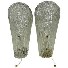 Stunning Pair of Ice Cone Glass Sconces by Kalmar Leuchten, Austria, 1960s