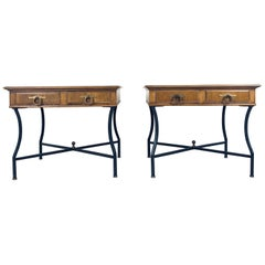 Stunning Pair of Inlaid Walnut Midcentury Tomlinson End Lamp Tables w Ring Pulls