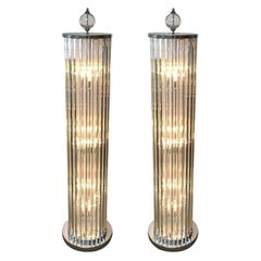 Stunning Pair of Italian Floor Lamps w/ Crystal Bars, 1980s