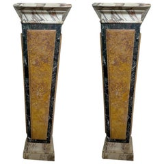Stunning Pair of Italian Inlaid Marble Bases or Pedestals