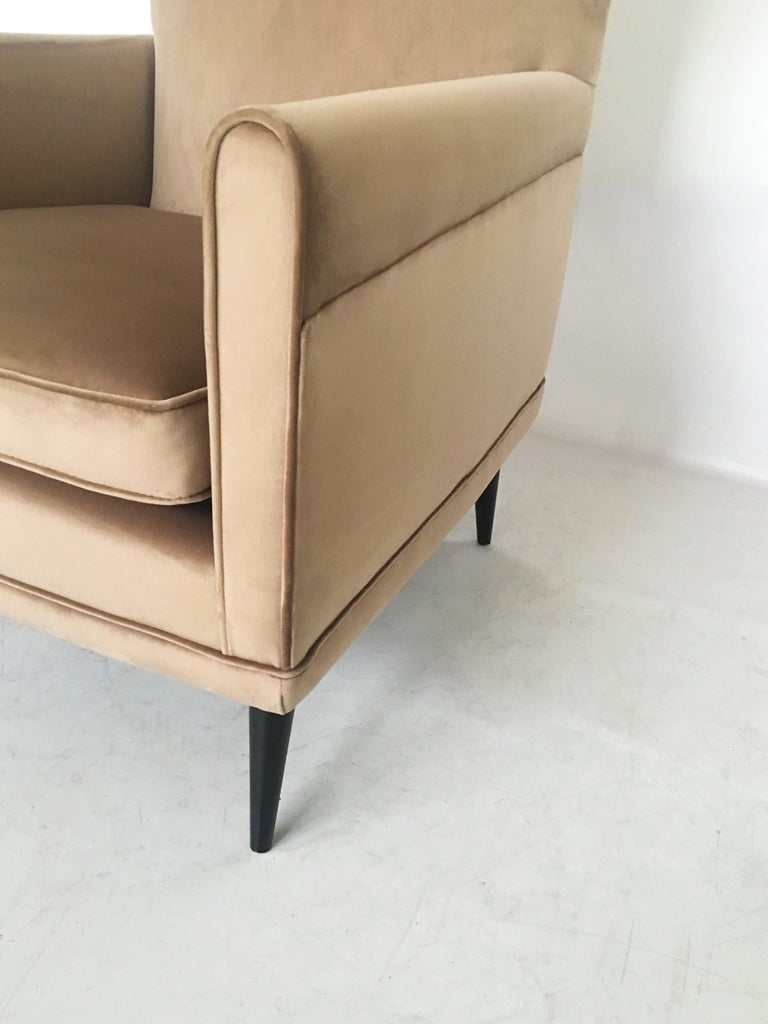 Velvet Stunning Pair of Italian Lounge Chairs by Gio Ponti For Sale