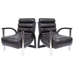 "Stunning Pair of Jay Spectre ""Eclipse"" Chairs in Black Leather"