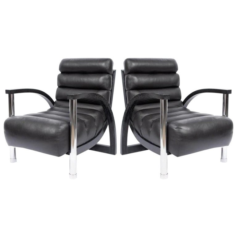 """Stunning Pair of Jay Spectre """"Eclipse"""" Chairs in Black Leather For Sale"""