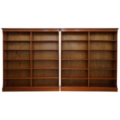 Stunning Pair of Large Solid Heavy Cherrywood Double Bank Twin Library Bookcases