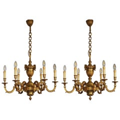 Stunning Pair of Louis XVI Style Bronze Chandeliers, Paris, France, circa 1980s