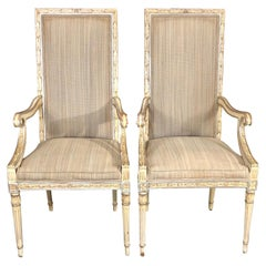 Stunning Pair of Louis XVI Style Painted and Upholstered Neoclassical Armchairs