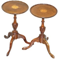 Stunning Pair of Mahogany Sheraton Revival Tripod Side End Lamp Wine Tables
