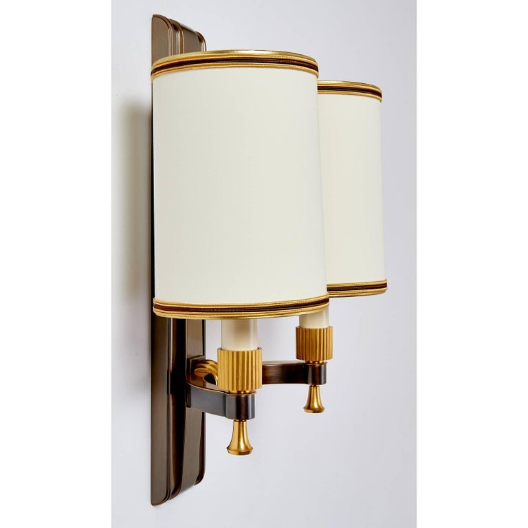 Mid-Century Modern Set of Four Maxime Old Gilt and Oxidized Bronze Sconces