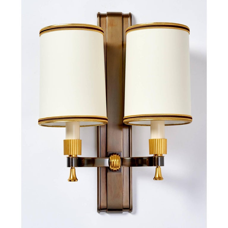 French Set of Four Maxime Old Gilt and Oxidized Bronze Sconces