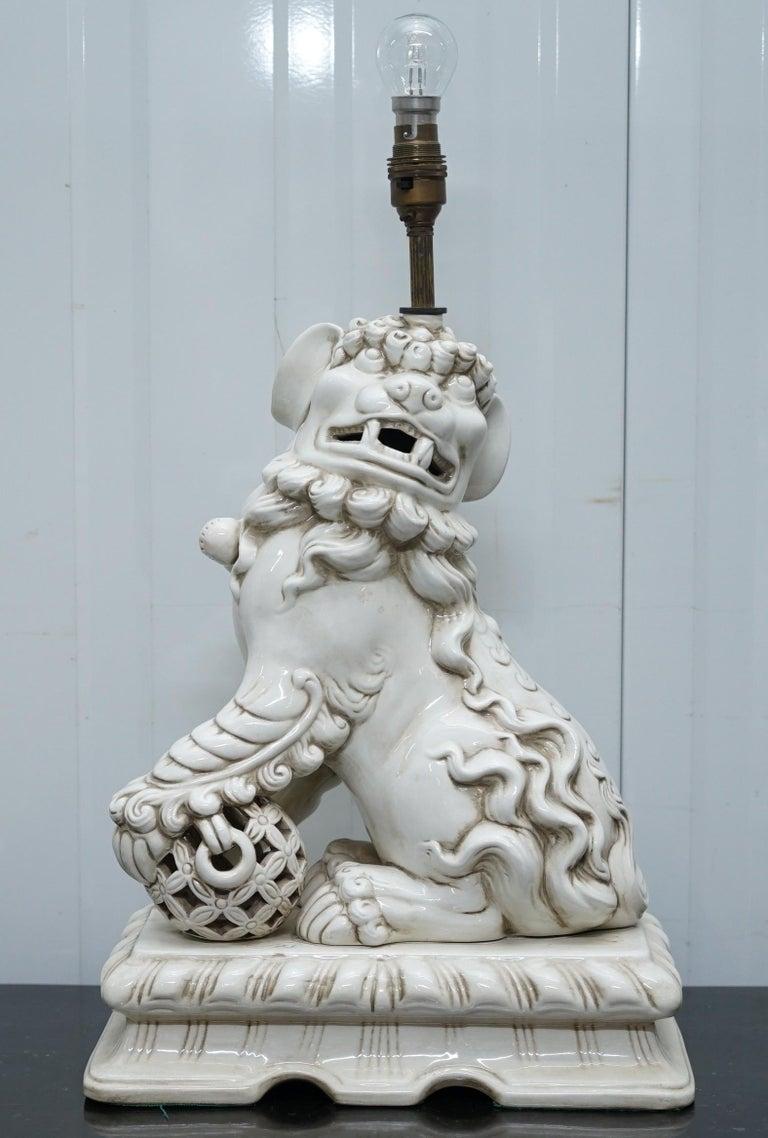 Stunning Pair Of Midcentury Ceramic Chinese Lion Foo Dog
