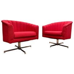 Stunning Pair of Milo Baughman Barrel Back Swivel Lounge Chairs on Chrome Bases