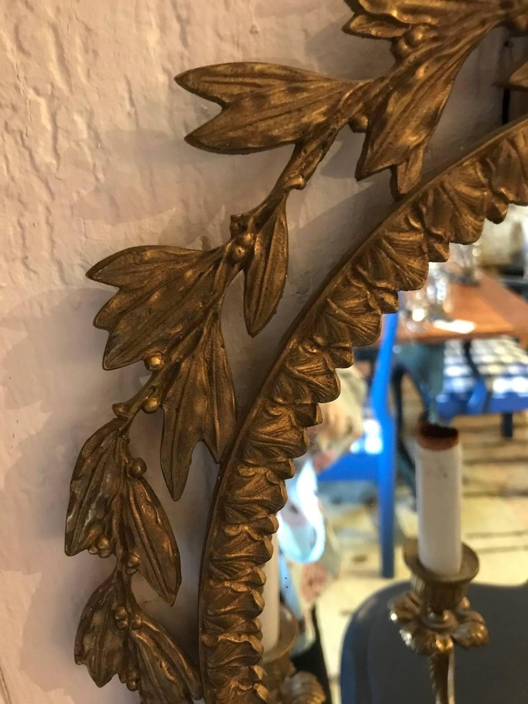 Stunning Pair of Neoclassical French Bronze Sconces For Sale 1