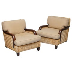Stunning Pair of Ralph Lauren Barrymore Armchairs Wicker Rattan
