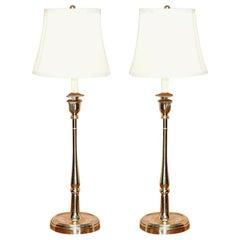 Stunning Pair of Ralph Lauren Chrome Victorian Candlestick Lamps