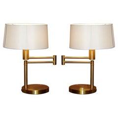 Stunning Pair of Ralph Lauren Gilt Brass Articulated Table Desk Lamps