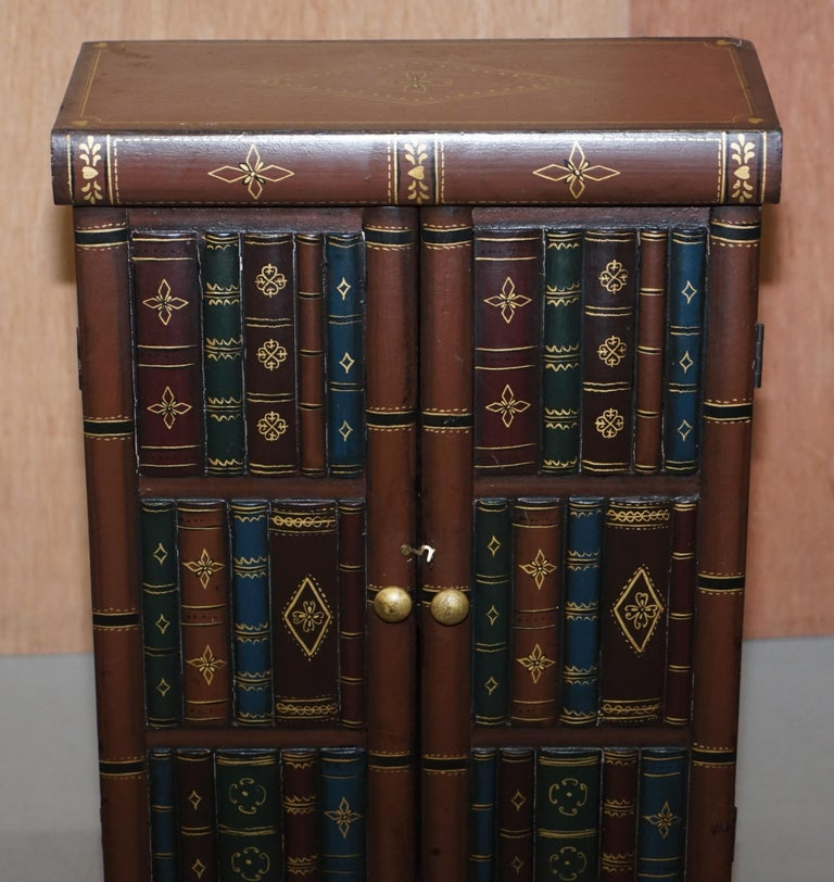 Stunning Pair of Side End Lamp Wine Table Sized Faux Book Library Study Cabinets For Sale 6