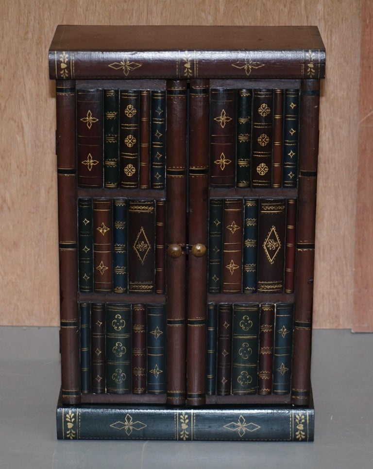 Victorian Stunning Pair of Side End Lamp Wine Table Sized Faux Book Library Study Cabinets For Sale