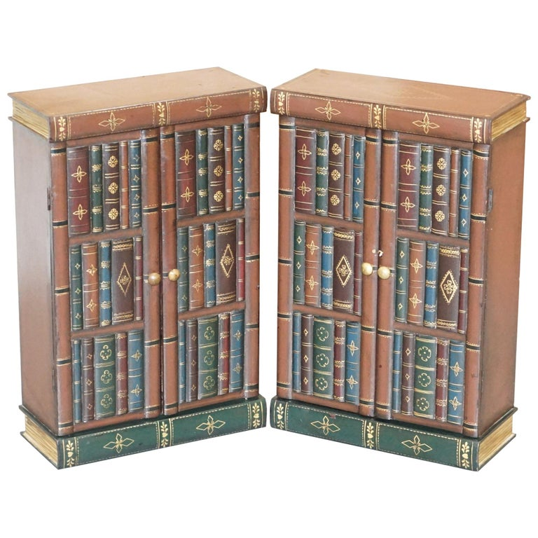 Stunning Pair of Side End Lamp Wine Table Sized Faux Book Library Study Cabinets For Sale